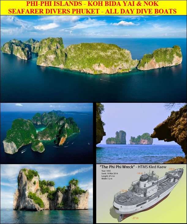 From Phuket, a day-long of scuba diving and freediving to Phi-Phi Islands with CMAS PADI SSI dive training courses